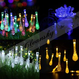 20 LED Water Drop Solar Powered Light Outdoor String Light For Outside  Garden Patio Party Christmas Decorative Light Strings M551
