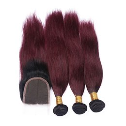 2017 ombre brazilian loose wave closure Brazilian Burgundy stight Ombre Hair With Closure Free Part #1B 99J Wine Red Ombre Lace Closure With Human Hair Bundles 4Pcs Lot ombre brazilian loose wave closure promotion