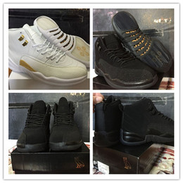 2017 black leather shoes free shipping air retro 12 man basketball shoes black&white OVO sports shoes man sneaker high quality athletic size 8-13 cheap black leather shoes