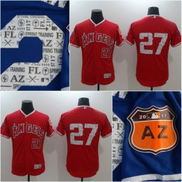 fashion stars stripes flexbase authentic stitched mlb jersey 2017 spring training los angeles mens los angeles angels of anaheim mike trout 27