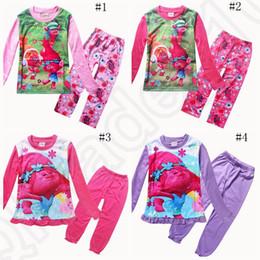 Trolls Kids Pijamas de dibujos animados trajes de dormir Poppy princesa de manga larga Pantalones ropa de dormir ropa establece 2pcs / set OOA1078