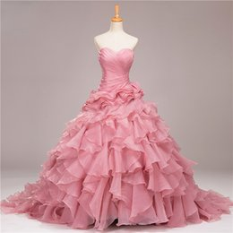 Wholesale Sweet Brithday Dresses Vestido De Formatura Real Picture Ball Gown Organza Quinceanera Dresses