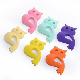 online shopping Large Silicone Teething Beads Owl Pendants Necklace Baby Silicone Teethers Toy Nursing Pendant Silicone Teething Necklace Chewable Jewelry