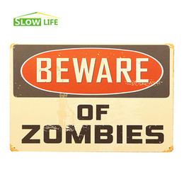 2017 zombie home decor beware of zombies vintage home decor tin sign 8x12 - Home Decor For Sale