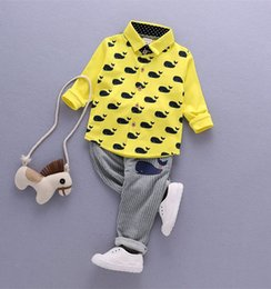 online shopping 2017 Spring New Arrival Children Clothes Whale Printed Shirts Stripe Pants Boys Girls Set Kids Cutie Set Baby Outfit Q0744