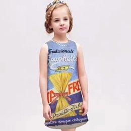 Wholesale Las muchachas del estilo de Europa nueva visten los niños del dibujo de Brushwork que arropan los vestidos de la liga para el vestido de partido azul del algodón de Sundress del chaleco de los cabritos de la muchacha A6674