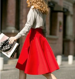 Red High Waist Midi Skirt Online | Red High Waist Midi Skirt for Sale