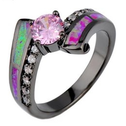 rose red geometric female opal ring black gold filled jewelry wedding rings for men and women bijoux anel black opal ring men outlet - Black Opal Wedding Rings