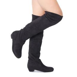 Discount Suede Long Flat Boots Women   2017 Suede Long Flat Boots ...