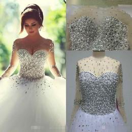 Wholesale 2016 Real Image robes de mariage à manches longues Nouveau Vintage strass été Bling Crystal robes de mariée Backless robe de bal robe de mariage