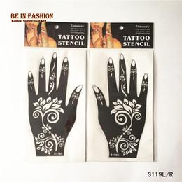 Wholesale pair Henna tattoo Stencils Airbrush stencil Glitter Body Art Professional kit Face Hand tattoos templates lace Rose Flower Lotu
