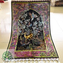 Great 2u0027x3u0027 Tree And Deer Design Iran Silk Carpet Prayer Rug  Handmade Exquisite Rugs For Home