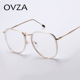 wholesale ovza newest retro circle eye glasses frames for men high quality metal optical frame fashion big frame transparent glasses women