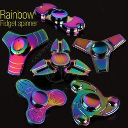 Верхнее качество Fidget Spinner Toy Радужный треугольник 3 листья Ручные вертушки Спиральный CNC EDC Finger Tip Декомпрессия новинка Ролловер Цвета Игрушки
