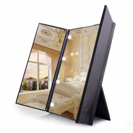 Wholesale Tri Fold LED Adjustable Foldable Lighted Makeup Mirror Touch Screen Travel Mirror Portable Folding Compact Cosmetic with led light