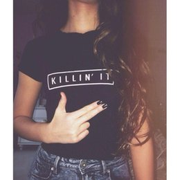 2017 wholesale shirts for summer Wholesale-2016 Summer Cotton Graphic Punk Style Letter Printed Funny T-shirts Women White Black Tops For Girls Woman Tees discount wholesale shirts for summer