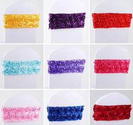 Последний (не нужно галстук узел) Упругие цветы Свадебный стул Обложка ленты Sash Стороны банкет Декор декор Цвета LLFA