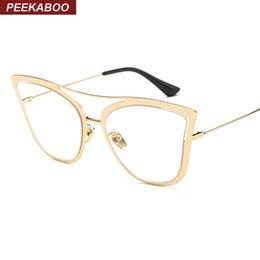 wholesale peekaboo new fashion frames eyewear cat eye female metal frame gold sexy glasses frames for women trendy lunettes