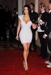 Wholesale Kim Kardashian celebridad vestidos de la alfombra roja un hombro espumoso vestido de fiesta de cóctel de lentejuelas reales fotos sexy corto mini vestido de fiesta