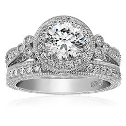 wholesale fashion 925 sterling silver round cut cz diamond gemstone rings sets jewelry engagement wedding rings for women sz 5 10 round cut engagement rings - Wedding Rings On Sale