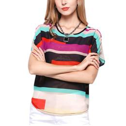 Las camisetas de las mujeres Sripe mezcló los colores de las camisas transparentes de la ropa ocasional irregular del color del panal para la señora Summer Wear T-shirt liberan el envío