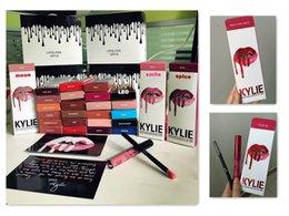 Los últimos 30 colores KIT DE LABORATORIO KYLIE JENNER regular 28 x cabeza de San Valentín sobre el talón Kylie Lipliner lápiz Lápiz de labios líquido Matte Red Velvet Lip Gloss