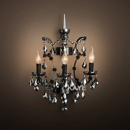 Rustic Wall Sconce Lamp Light Modern Art Decor Vintage Black Crystal Chandelier Wall Lighting For Home Hotel Dining Room Decor At