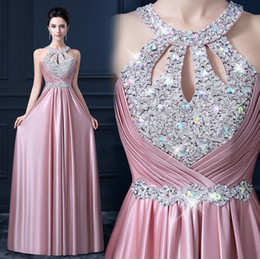 Wholesale 2016 Vestido Line Elegant Prom Long Evening Dresses Sexy Backless Sequins and Crystals Special Dresses Party Gowns colors