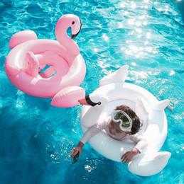 Anillo de natación del bebé inflable flamingos Swan Seat barco de natación anillo de natación nadar piscina flotador piscina playa juguetes KKA1403