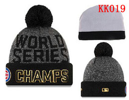 2017 wholesale knitted cashmere hat 2016 New Baseballl Champs Beanies Pom Knit Hats world Series Sports Cap Mix Order Top Quality Hat Winter Wool Hats Cubs Beanies