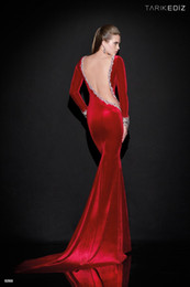 Tarik Ediz Red Velvet Dress Online - Tarik Ediz Red Velvet Dress ...