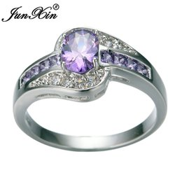 junxin female purple oval ring fashion white black gold filled jewelry vintage wedding rings for women birthday stone gifts - Purple Diamond Wedding Ring
