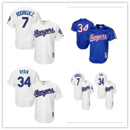 Stitched Blue Majestic Jersey MED Nolan Ryan 34 Texas Rangers Ivan  Rodriguez 7 . fff98db56