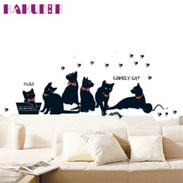Wholesale Fashion Wall Stickers Cat Stickers Living Room Decor Tv Wall Decor Child Bedroom Vinyl Home Decor