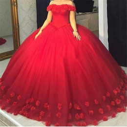 Wholesale Fleurs Tulle Off the Shoulder Corset Back Sweet Robe Puffy Ball Gown Robes de fête Red Quinceanera Robes vestido de debutante