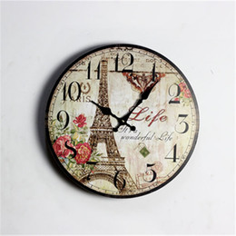 Wall Clock Eiffel Tower Flower Numbers Retro Vintage Home Decor Round