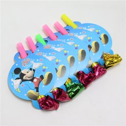 wholesale 6pcslot mickey mouse cartoon baby shower blow outs events toy noise maker happy birthday party decoration kids favors supplies - Wholesale Cake Decorating Supplies