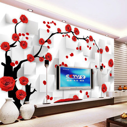 2017 roses wallpaper home decor customize photo wallpaper rose 3d mural wall paper wallpaper tv background - Home Decor For Sale