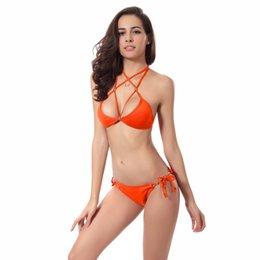 s xl womens swimming suit solid push up swimwear woman 2017 neon halter bikini set maillot de bain costumi da bagno donna bk429
