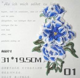 Wholesale 3 colores Peony grande etiqueta engomada del remiendo de la flor del Peony remaches bordados cosen en el remiendo de la puntada para las etiquetas decorativas x19 cm de la ropa
