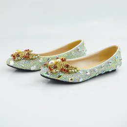 Ladies Flat Evening Shoes Canada - Beaded Ladies Pumps Ponted Toe Luxury  Prom Evening Shoes Cinderella 5575466c8e7f