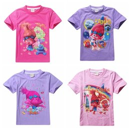 Wholesale Kids Summer T shirt The Good Luck Trolls Shirt New Movie T shirts for Girls Cotton Tees Clothes Casual Tops Trolls Clothing
