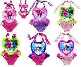 Wholesale Trolls Maillots de bain pour filles One Piece Movie Moana Maillots de bain de bande dessinée Lace Love Heart Triangle Beach Bikini Bébé Enfants Natation Vêtements Pool Bath Cloth