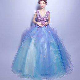 Nueva llegada de moda caliente de la moda de la moda de rendimiento elegante Organza Royal anual de flores atractivas Deep V-cuello del vestido anual de novia vestido de novia