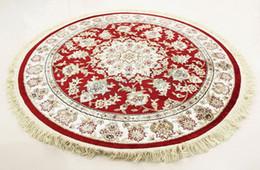 Alfombras redondas de seda hechas a mano 100X100cm Alfombras persas hechas de seda y algodón 1pcs