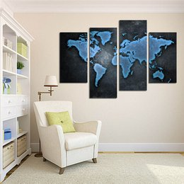 lk407 4 panel world map wall art canvas abstract oil paintings contemporary for living room home deco unframed framed 32x47inches ship free