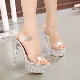 Wholesale 14 Cm Thin High Heels Thin Bottom Waterproof Women Crystal Shoes Coreano más tamaño Princesa Sandalias de la boda zapatos