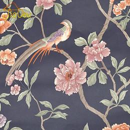 Wholesale 6 Color Bird Tree Flower Southeast Asia 3d Vinyl Wallpaper Papel De Parede Home Decor Living Room Tv Sofa Background Wall Paper