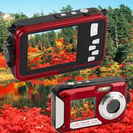 Venta al por mayor-2.7inch TFT cámara digital impermeable 24MP MAX 1080P doble pantalla 16x Zoom Digital Videocámara Venta al por mayor