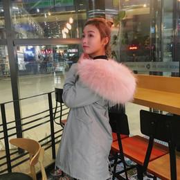 2016 Nova cor cinza longo Parka com rosa cereja Slim Fit Cinza Bont Fake pele Long Thick Warm Coat